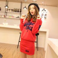实拍韩版新款秋冬女装显瘦长款卫衣打底裙加绒大码长袖连衣裙129#