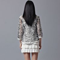 实拍 2015春冬蕾丝衫韩版女装V领开衫七分袖大码短外套雪纺衫