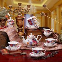 15头优级骨瓷 咖啡具套装 景德镇高档骨瓷咖啡具妩媚妖娆英式