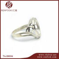 仁福 7A-D0104 S925纯银首饰配件 镶嵌圆形宝石镂空戒环戒指托