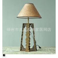 北欧简约/日式MUJI风格卧室床头台灯/早川穗实木灯具-雕花腿立柱