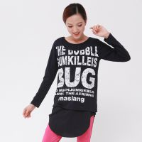 2014女装新款 BUG字母印花T恤 宽松中长款长袖T恤印花打底衫 510