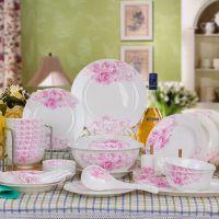 [萱雅]厂家直销 56头景德镇陶瓷餐具玫瑰之约碗套装乔迁结婚礼品