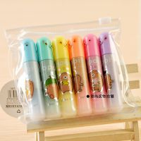 韩国文具天卓86271打地鼠荧光笔 6支装重点标记笔 迷你型彩色笔