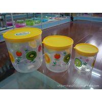 厂家直销彩色花卉团糖果罐 密封罐 塑料密封罐套装 密封罐三件套