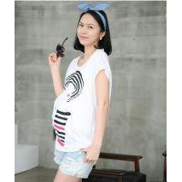 孕妇T恤 短袖上衣 2014时尚韩版新款孕妇装 宽松大码 美女T恤