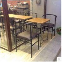 北欧美式乡村实木职员椅做旧铁艺电脑椅法式休闲吧餐椅餐桌椅组合