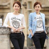 2014新款秋冬韩国女装纯棉t恤 女式修身印花烫钻长袖T恤女打底衫