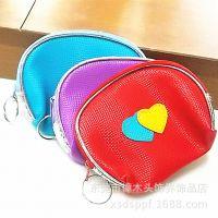 韩国可爱银边PU零钱包钥匙包 双心桃心皮质女士硬币小包 创意礼物