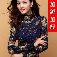 新装女士欧韩版蕾丝高领修身长袖打底衫加绒加厚