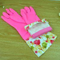 B348 家务花袖保暖绒里手套 冬至清洁手套批发 PU加棉接花2286