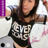 2014春夏装 新女装韩版F2201纱网拼接俏皮可爱英文短款短袖小T恤