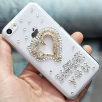 供应iphone5/5S透明手机壳 爱心钻圈手机保护套水钻 苹果4s后壳 外壳