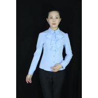 精品修身蓝色立领荷叶边长袖衬衫OL通勤职业装职业服