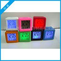 厂家直销 硅胶LED闹钟LCD时间日期响铃闹钟 背景贪睡功原装静电
