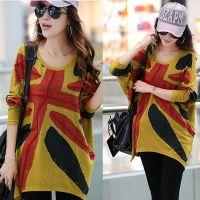 2014秋季新款韩版米字旗印花宽松蝙蝠衫 女士中长款蝙蝠袖针织衫