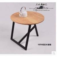 美式铁艺圆桌餐厅桌子咖啡桌实木茶几复古做旧泡茶桌角几边桌简约