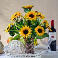 假花装饰花客厅塑料花盆栽娟花干花摆设插花 仿真花套装向日葵紫