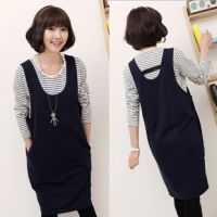 新款韩版孕妇两件套装孕妇时尚条纹打底衫+深蓝色背心裙