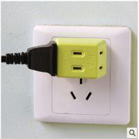 专利产品 新款一出三旅行插头  电源插头    防火阻燃材料制造