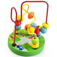 儿童木制玩具 宝宝早教益智玩具 串珠绕珠 迷你小绕珠 动物底盘