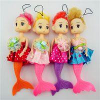 厂家直销美人鱼娃娃15CM毛绒迷糊娃娃公仔新款蝴蝶结婚庆娃娃批发