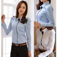 2014秋装新款韩版女装衬衣撞色打底衫雪纺衬衫女百搭时尚厂家直销