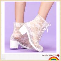潮流新款高跟蕾丝PVC雨鞋 女式水鞋 透明马丁雨靴雨鞋