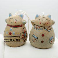 FL007景德镇陶瓷饰品长款招财猫风铃晴天娃娃陶瓷风铃创意工艺品