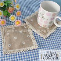 姣宅公主-简约质朴亚麻色方形杯垫 隔热垫一包2片