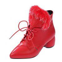 2014新款欧美红色中跟马丁靴尖头毛毛靴粗跟短靴秋冬季女靴子