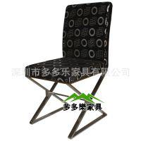 高雅餐桌椅 鱼纹不锈钢交叉餐椅 深圳餐厅家具供应 厂家正品 多多乐家具