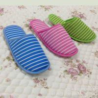 专业厂家 定制拖鞋 女士拖鞋 时尚爆款 条纹印花地板鞋 【图】