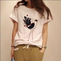加盟代发 夏装新款 休闲打底衫 中长款宽松卡通圆领短袖T恤