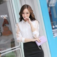 供应实拍韩版雪纺长袖女装衬衫大码打底衫