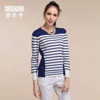 秋装新款女式水手风彩条纹套头圆领羊毛衫针织衫毛衣打底衫