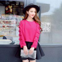 XJ】新款秋季女装纯色简约百搭T恤上衣女长袖圆领打底衫HFB251