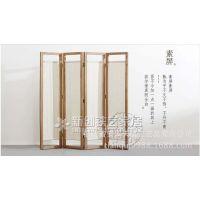 复古实木布屏风隔断时尚客厅玄关门现代中式屏风简约折屏