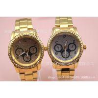 EBAY/速卖通外贸便宜热销钢片带日内瓦手表,现货批发