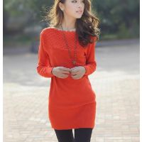 沙河时尚蕾丝长袖花边打底衫 上海大红门时尚长款毛衣批发