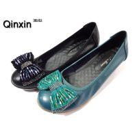 供应2014新款真皮女士单鞋/大码女鞋浅口鞋坡跟妈妈鞋
