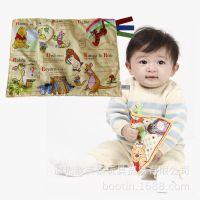 外贸原单迪士尼宝宝玩具 婴幼儿仿真报纸布书安抚巾啃咬发声布玩