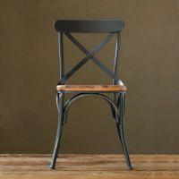可定做 美式乡村铁艺餐椅快餐椅实木做旧椅子餐厅实木靠背椅批发
