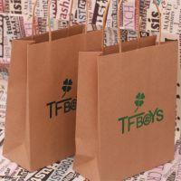 韩国文具批发 TFBOYS图案牛皮纸系列纸袋 礼品袋 手提袋12个每包