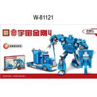 厂家直销 81121 变形金刚4二合一拼装积木-擎天柱 乐高式益智玩具