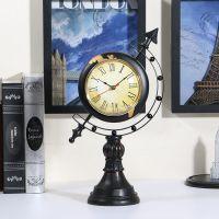 美式地球仪座钟 复古客厅静音时钟台钟表 时尚创意家居装饰钟摆饰