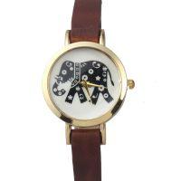 国内外热销 复古潮流民族风大象印花表盘优质皮革女式石英手表