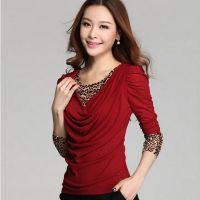 2014新款秋装大码女T恤韩版显瘦假两件遮肚腩豹纹网纱长袖打底衫