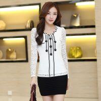 2014秋装新款韩版女装气质钉珠花朵长袖蕾丝衫打底衫女 厂家批发