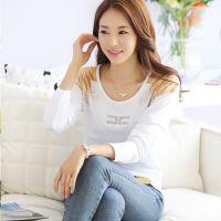 秋季女装韩版新款上衣 时尚修身印花烫钻长袖大码t恤女圆领打底衫
